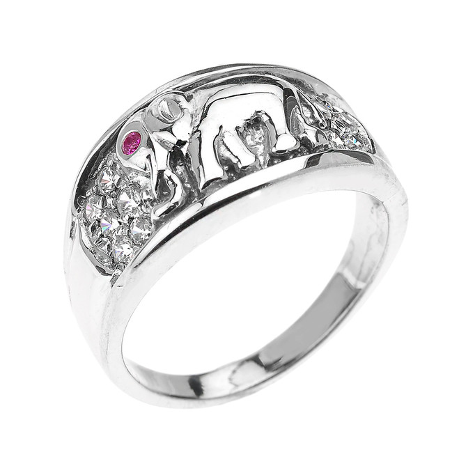 Sterling Silver White and Red CZ Elephant Ring