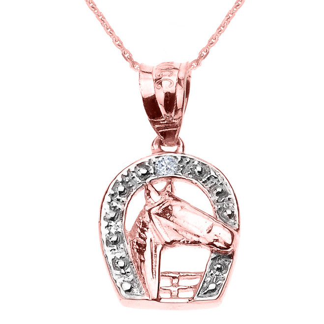 Rose Gold Diamond Horseshoe with Horse Head Pendant Necklace