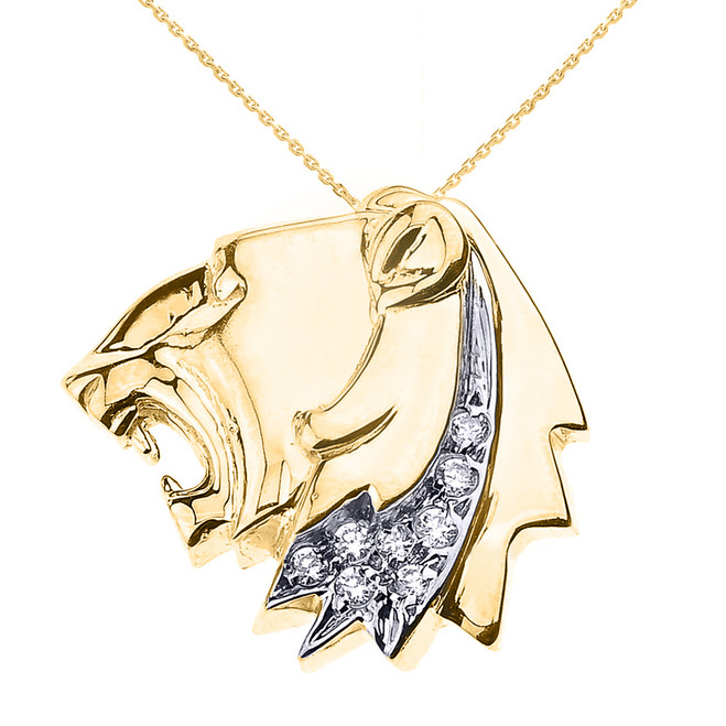 Yellow Gold Roaring Lion Head Diamond Pendant Necklace