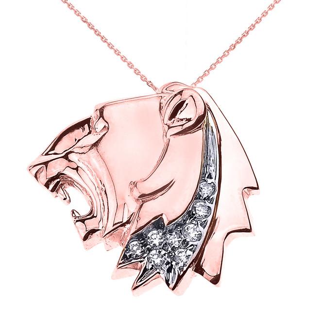 Rose Gold Roaring Lion Head Diamond Pendant Necklace