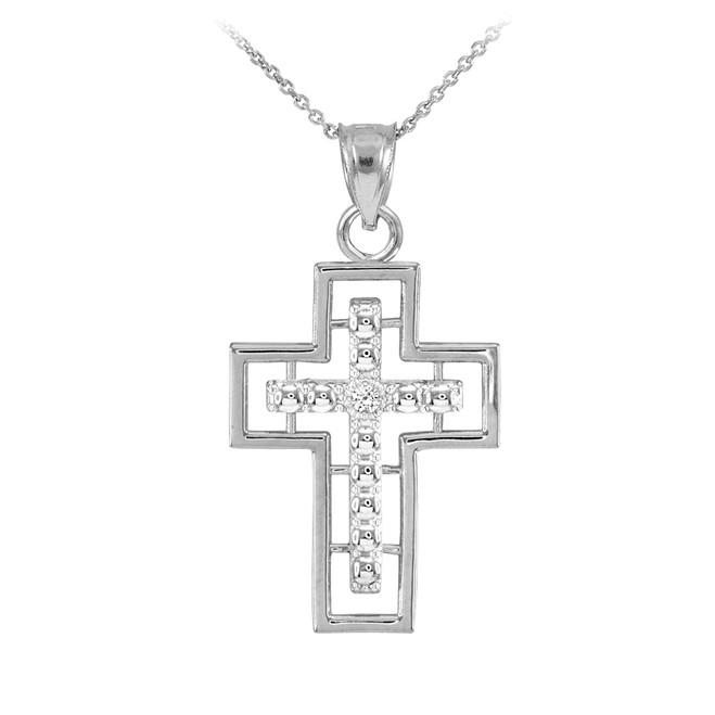 14K White Gold Cross Diamond Pendant Necklace