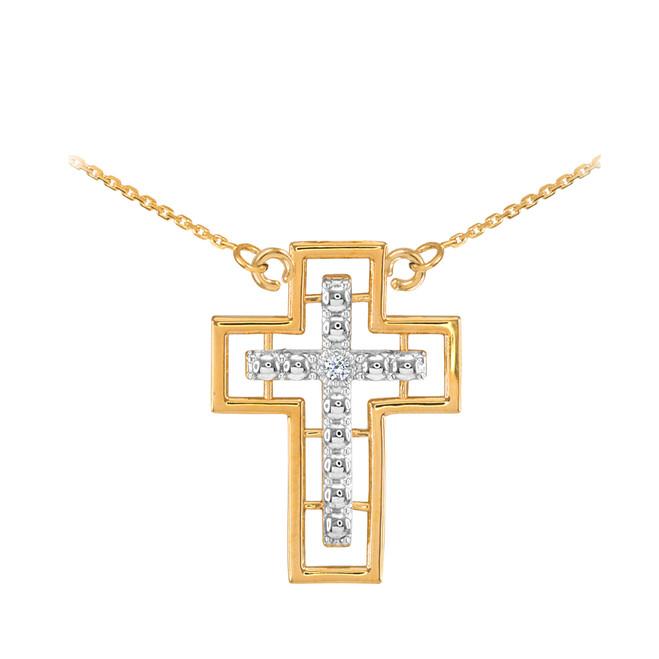 14K Two Tone Gold Cross Diamond Necklace
