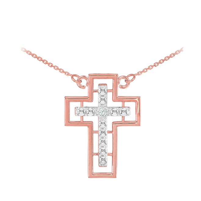 14K Two Tone Rose Gold Cross Diamond Necklace