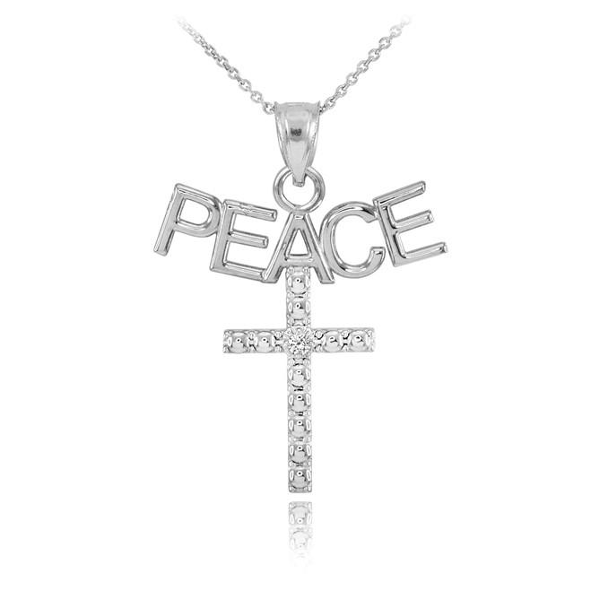 14K White Gold PEACE Cross Diamond Pendant Necklace