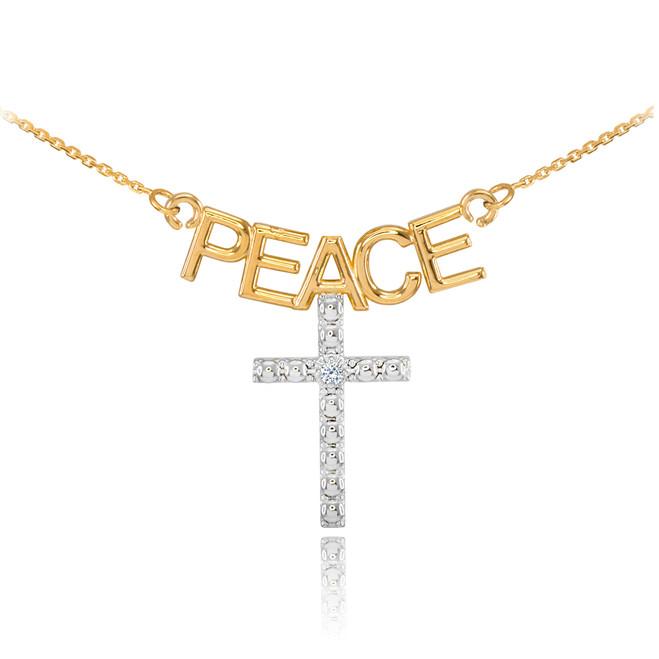 14K Two Tone Gold PEACE Cross Diamond Necklace