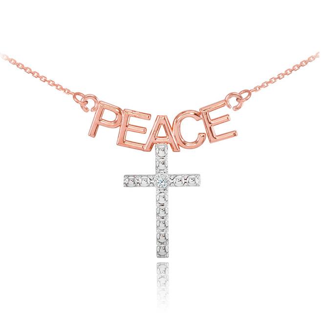 14K Two Tone Rose Gold PEACE Cross Diamond Necklace