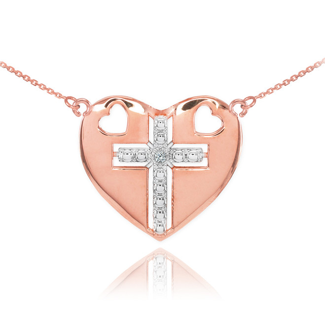 14K Two Tone Rose Gold Heart Cross Diamond Necklace