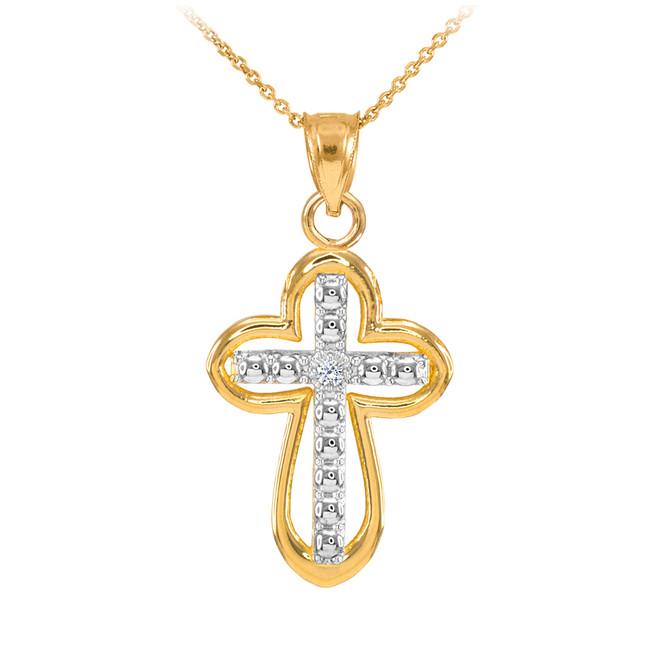 14K Two Tone Gold Cross Diamond Charm Necklace