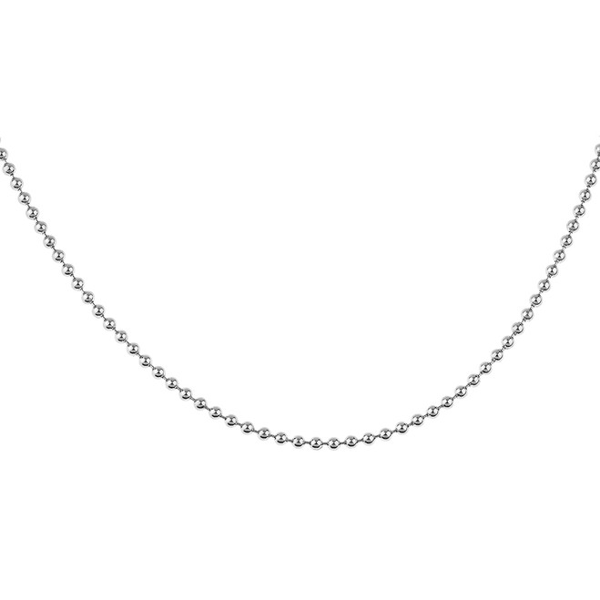 Sterling Silver 32 Inch Italian Round Bead Link Chain 2.2 mm