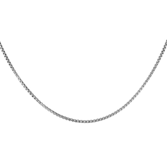 Solid 925 Italy Sterling Silver Mens Round Box 2.5mm Link Italian Chain Necklace