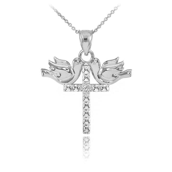 14K White Gold Pigeon Cross Diamond Pendant Necklace