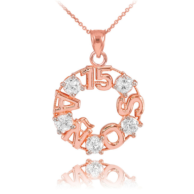 14K Rose Gold 15 Años CZ Pendant Necklace