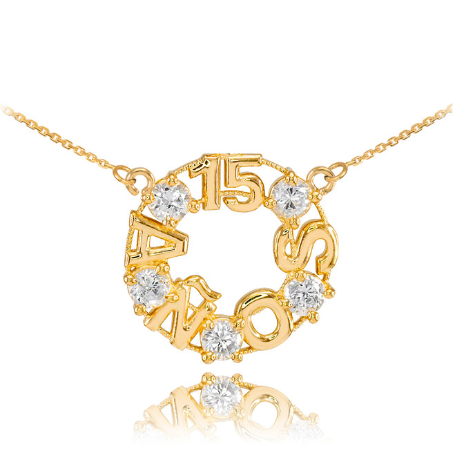 14K Yellow Gold 15 Años CZ Necklace