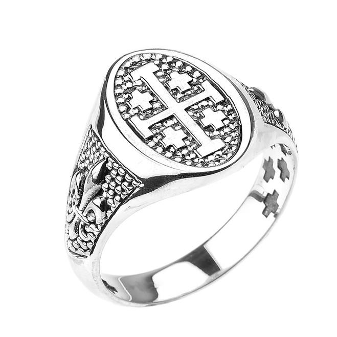 White Gold Jerusalem Cross Unisex Ring with Fleur De Lis