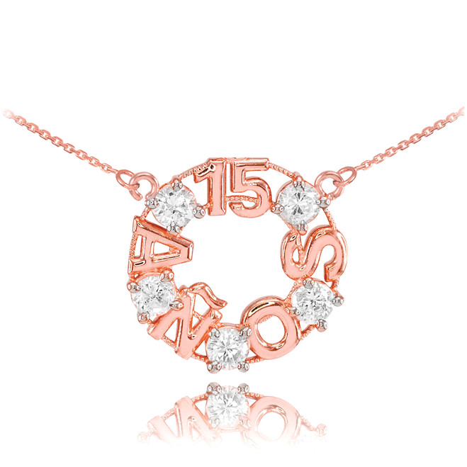 14K Rose Gold 15 Años CZ Necklace