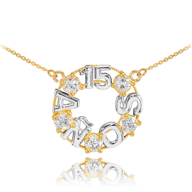 14K Two Tone Yellow and White Gold 15 Años CZ Necklace