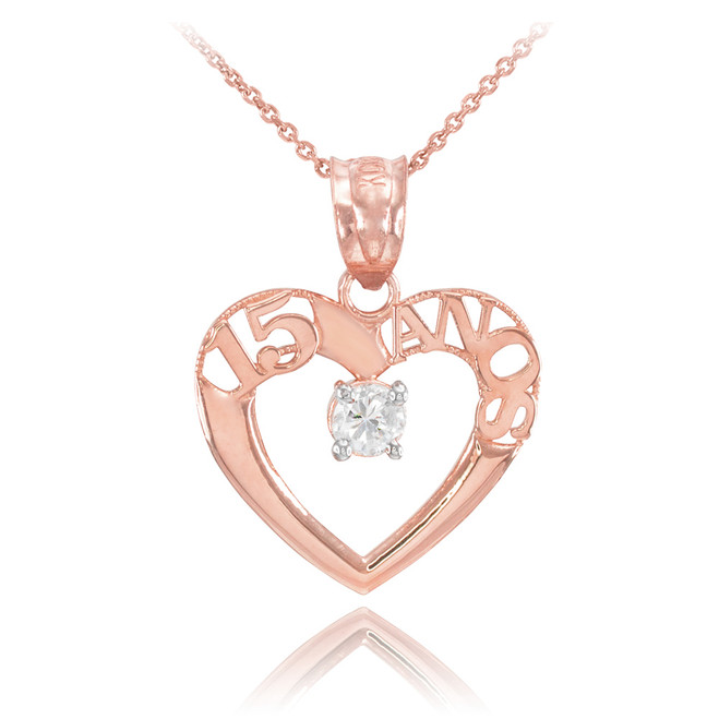 14K Rose Gold 15 Años Heart CZ Pendant Necklace
