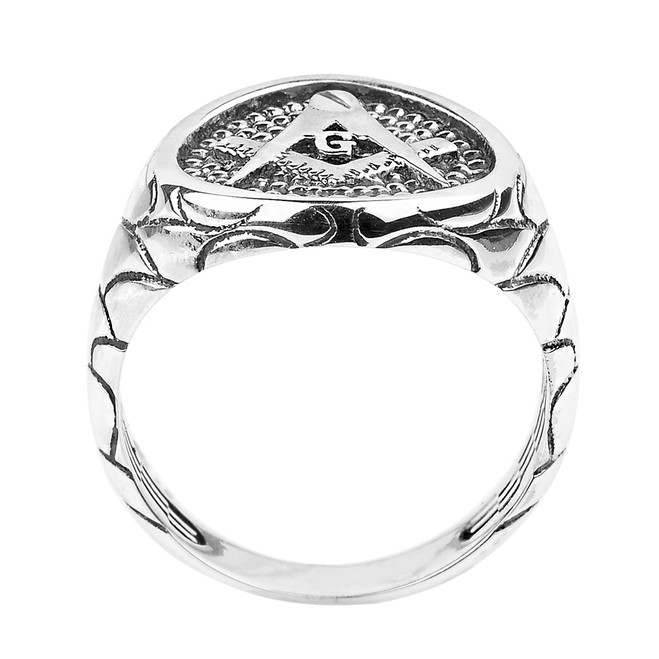 Solid White Gold Nugget Band Masonic Men's Ring