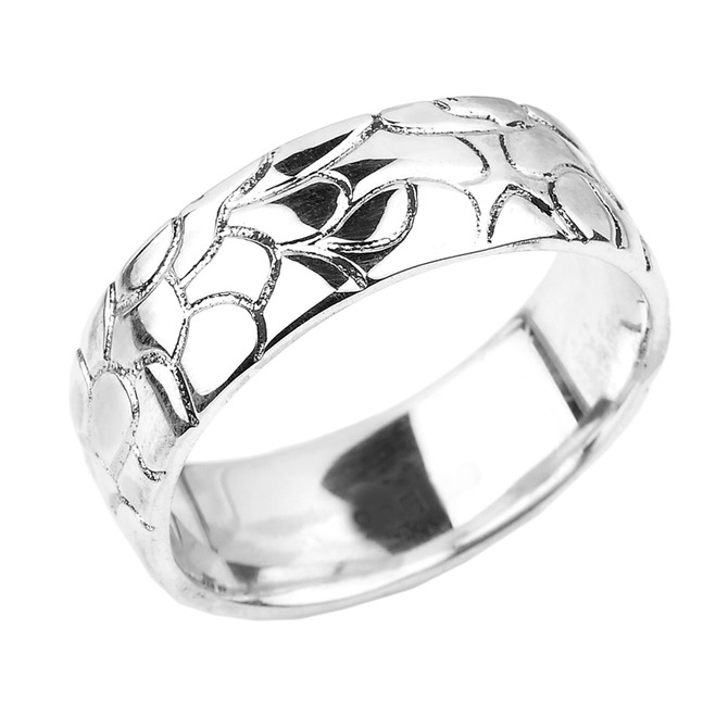 White Gold Nugget Wedding Band - 7 MM