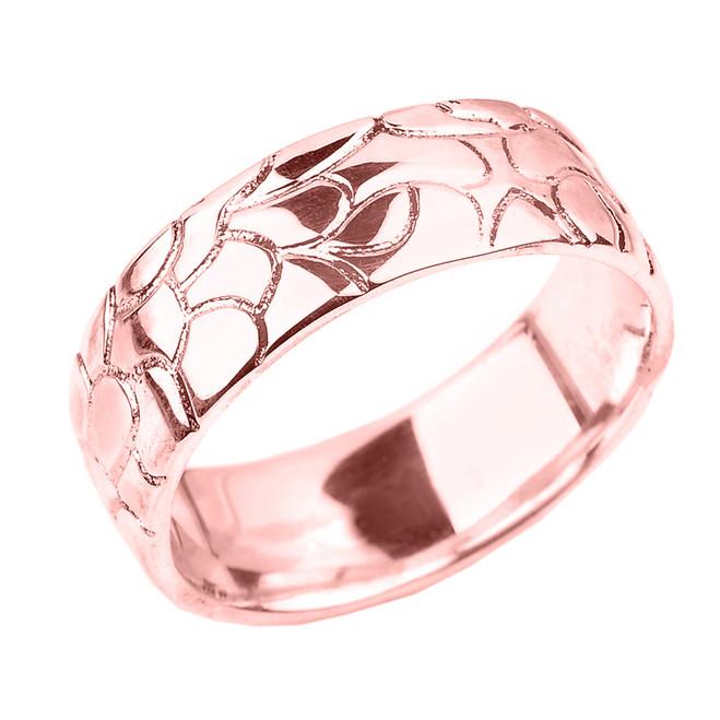 Rose Gold Nugget Wedding Band - 7 MM