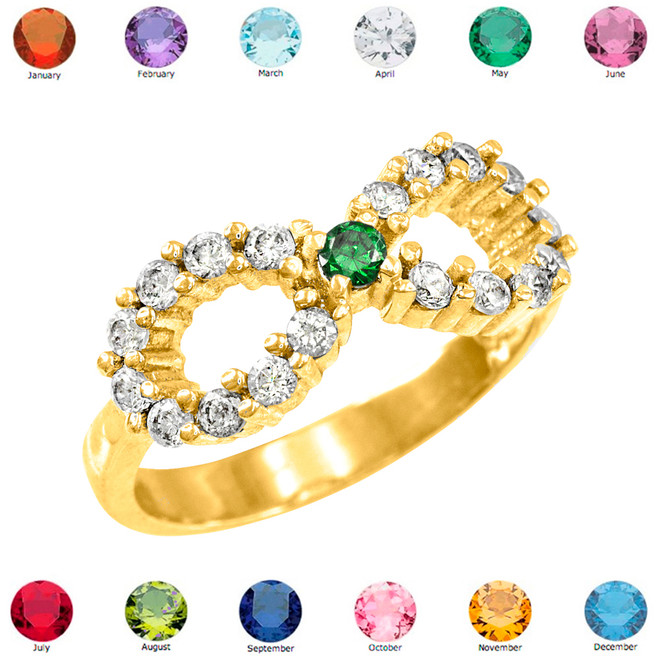 Solid Gold Infinity Birthstone CZ Ring