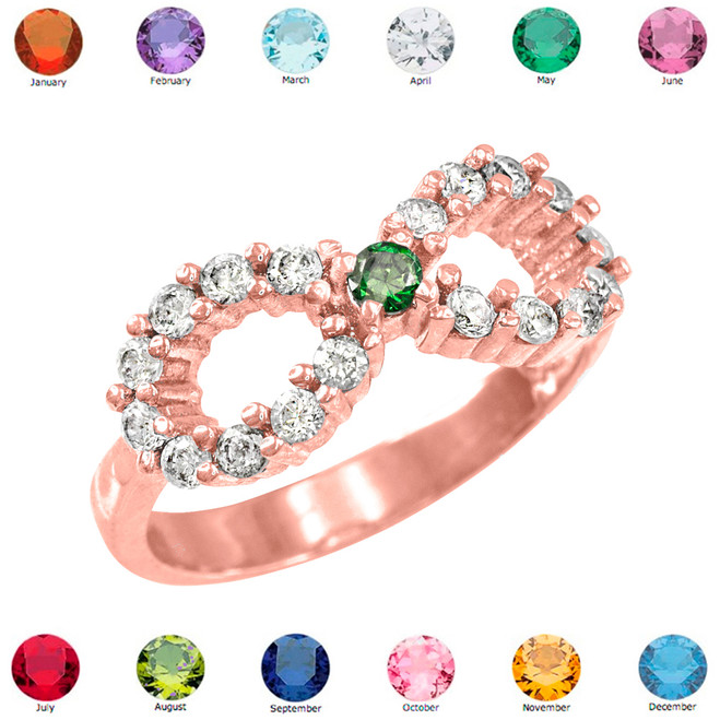 Solid Rose Gold Infinity Birthstone CZ Ring
