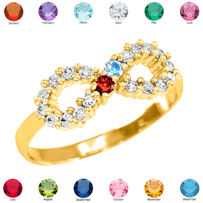 Gold Infinity CZ Birthstone Ring