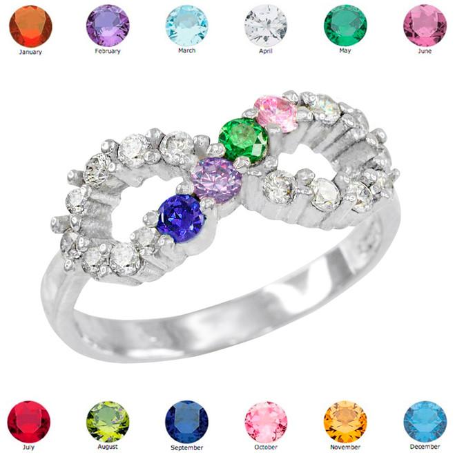 White Gold Infinity CZ Four Birthstone Ring
