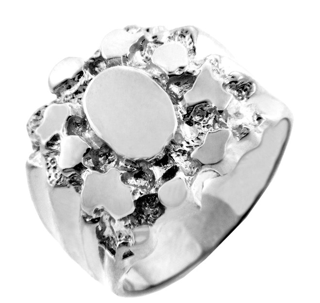 Silver Stand Mens Nugget Ring