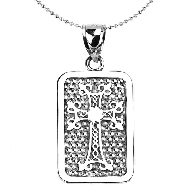 Sterling Silver Armenian Cross Engravable Pendant Necklace