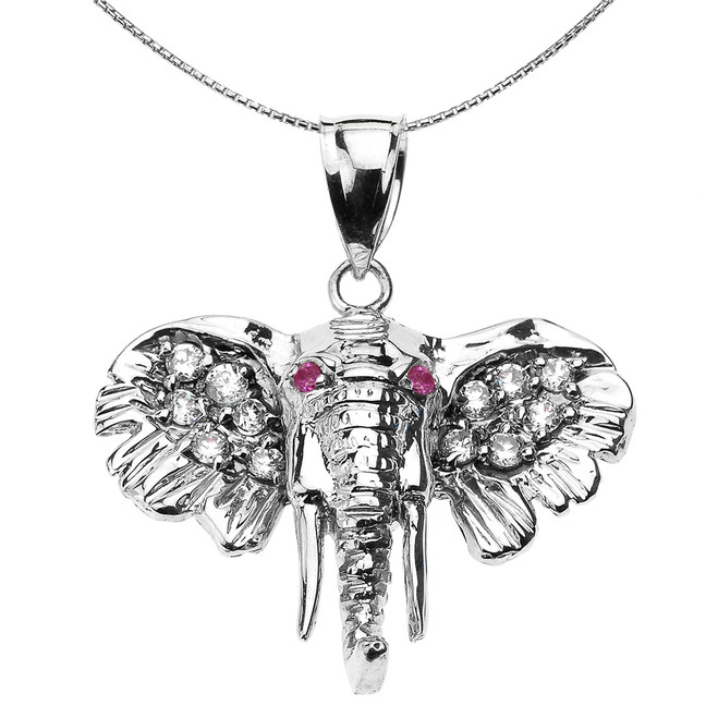 Sterling Silver Elephant Head Pendant Necklace with White and Red CZ