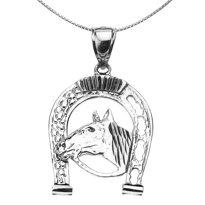 Sterling Silver Horseshoe with Horse Head Pendant Necklace