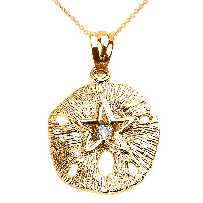 Yellow Gold Sand Dollar CZ Pendant Necklace