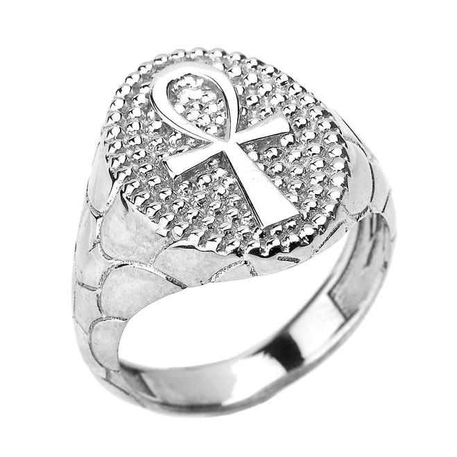 White Gold Egyptian Ankh Cross Men's Ring