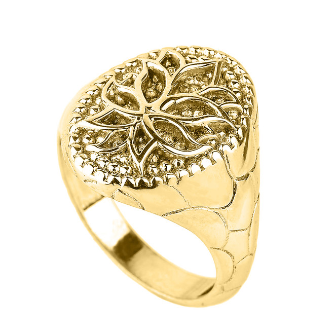 Yellow Gold Lotus Blossom Flower Men's Ring