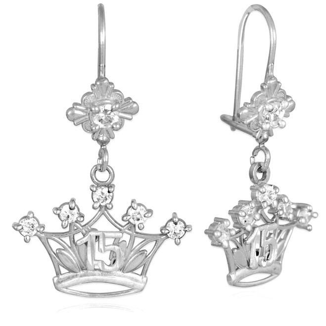 White Gold Quinceanera Crown CZ Earrings