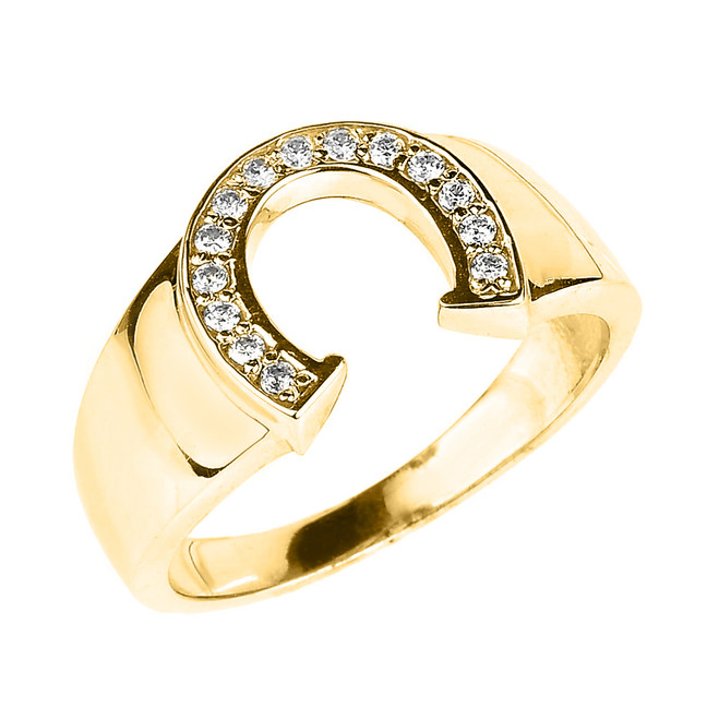 Yellow Gold Diamond Horseshoe Men's Ring