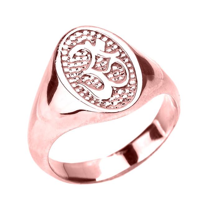 High Polished Rose Gold Om/Ohm Men's Ring