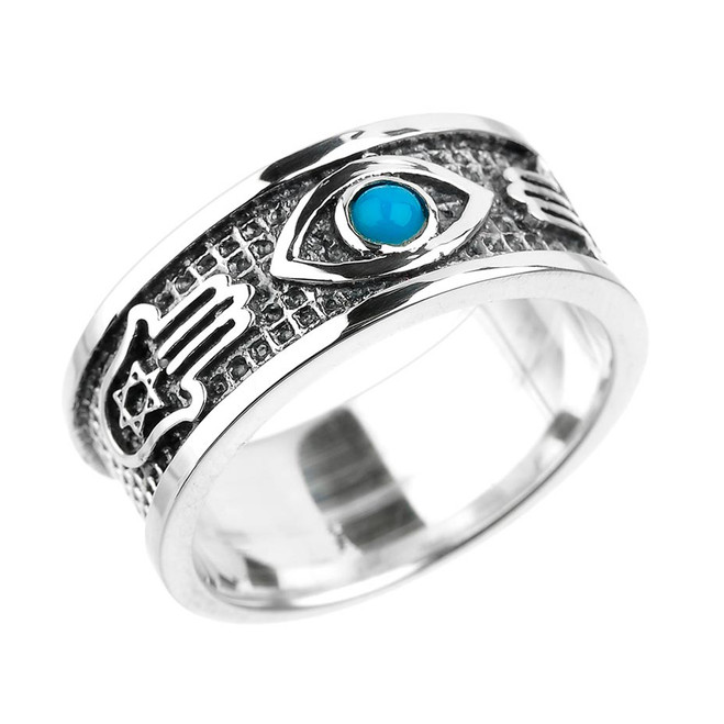 Sterling Silver Hamsa, Star of David, Evil Eye with Turquoise Unisex Band
