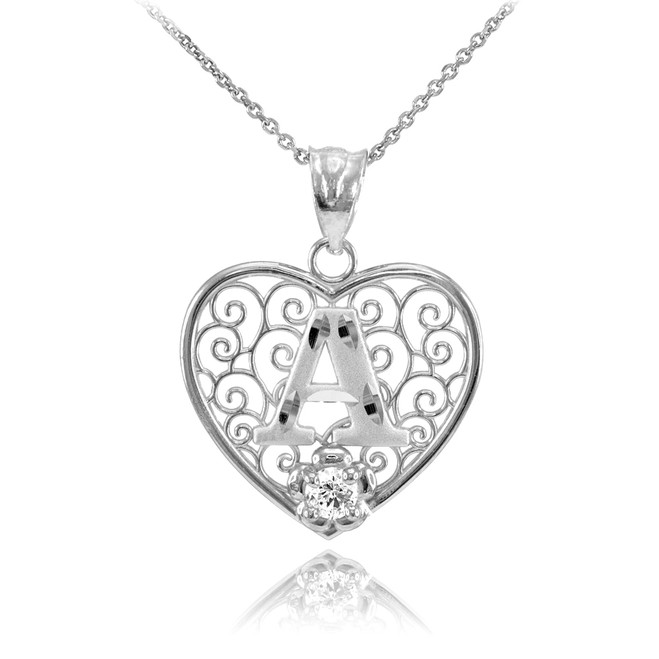 """Silver Filigree Heart """"A"""" Initial CZ Pendant Necklace"""