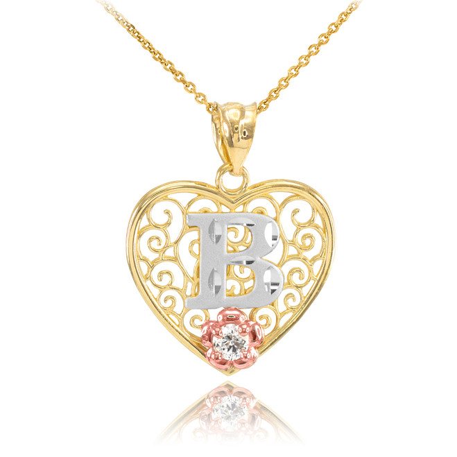"Two Tone Yellow Gold Filigree Heart ""B"" Initial CZ Pendant Necklace"
