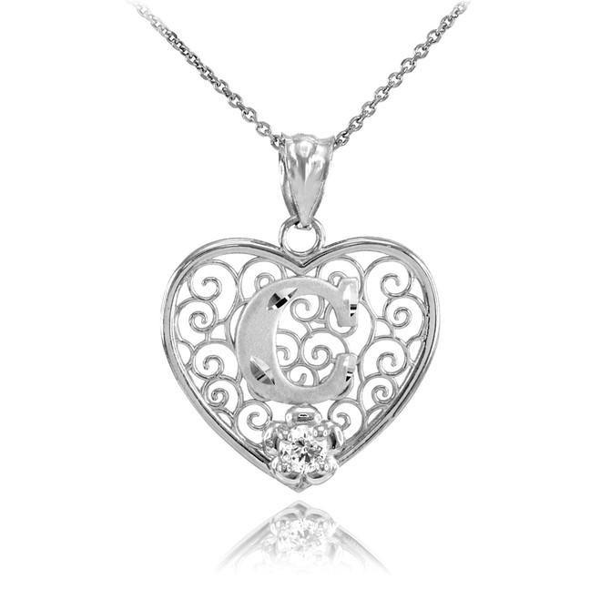 "Silver Filigree Heart ""C"" Initial CZ Pendant Necklace"