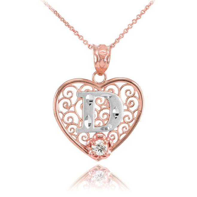 """Two Tone Rose Gold Filigree Heart """"D"""" Initial CZ Pendant Necklace"""