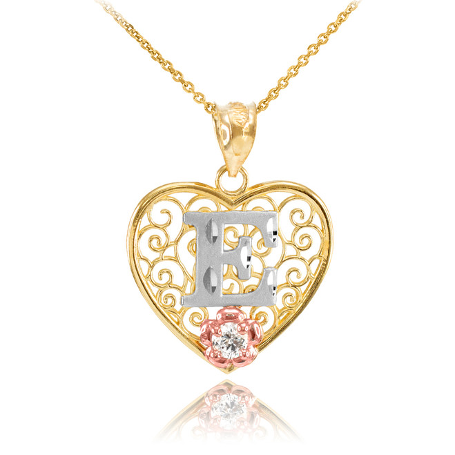 """Two Tone Yellow Gold Filigree Heart """"E"""" Initial CZ Pendant Necklace"""