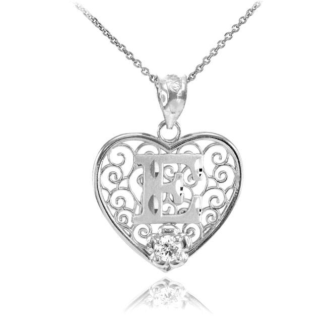 """Silver Filigree Heart """"E"""" Initial CZ Pendant Necklace"""