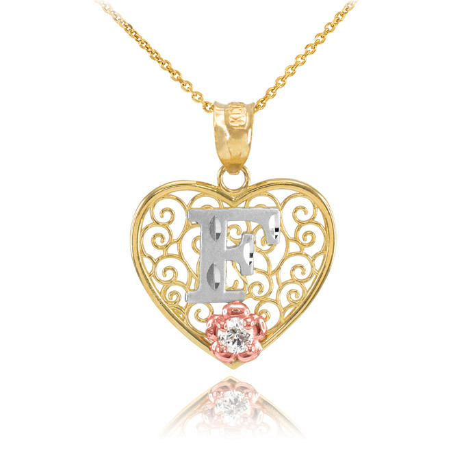 """Two Tone Yellow Gold Filigree Heart """"F"""" Initial CZ Pendant Necklace"""