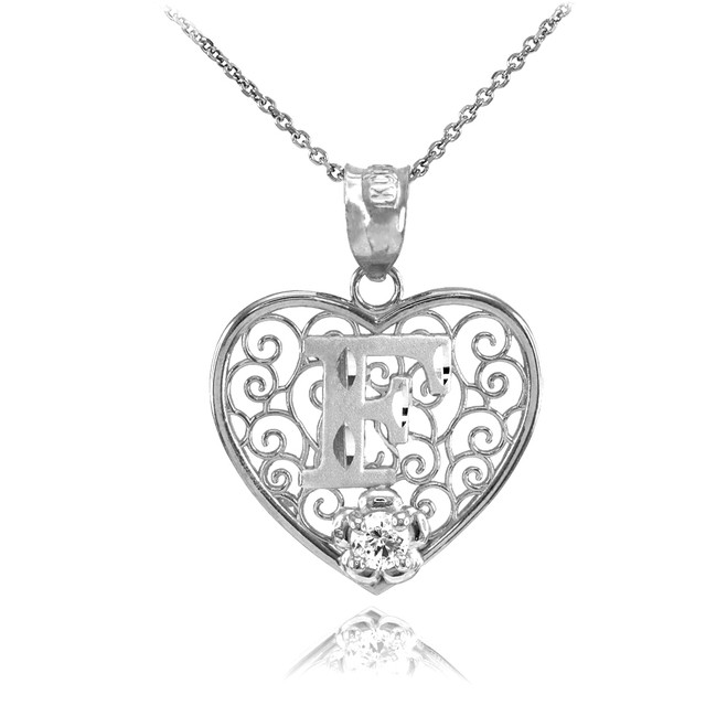 "Silver Filigree Heart ""F"" Initial CZ Pendant Necklace"
