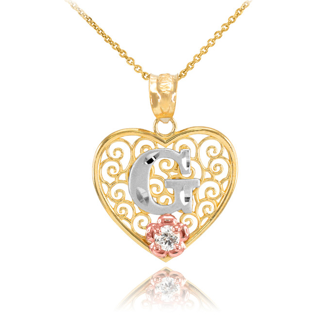 "Two Tone Yellow Gold Filigree Heart ""G"" Initial CZ Pendant Necklace"