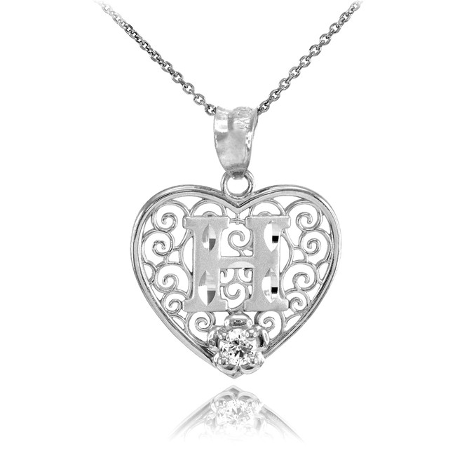 """White Gold Filigree Heart """"H"""" Initial CZ Pendant Necklace"""