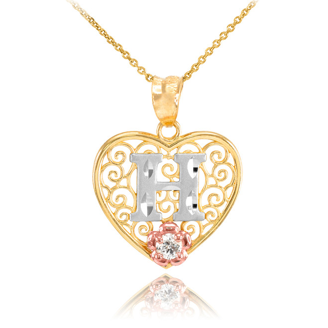 """Two Tone Yellow Gold Filigree Heart """"H"""" Initial CZ Pendant Necklace"""